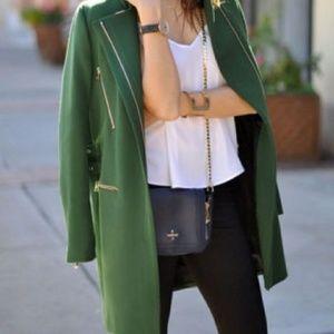 Zara Green Zip Buckle Coat